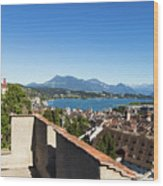 Lucerne Old Town In Switzerland Wood Print