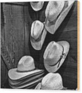 Luckenbach Hats Black And White Wood Print