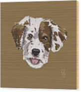 Lucky Brown Mixed Breed Wood Print