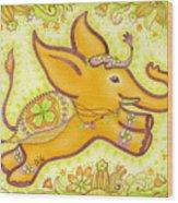 Lucky Elephant Orange Wood Print