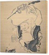 Lucky Gods Hotei Wood Print