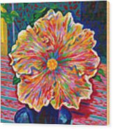 Lucky We Live Hibiscus Wood Print