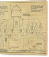 Lucy The Elephant Building Patent Blueprint  Wood Print