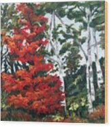 Lucy's Red Tree Wood Print