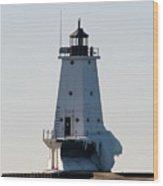 Ludington Lighthouse With Ice Wood Print
