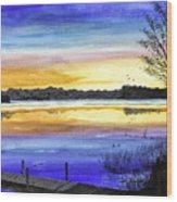 Ludington Sunrise Painting Wood Print