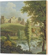 Ludlow Castle With Dinham Weir Wood Print