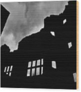 Ludlow Storm Threatening Skies Over The Ruins Of A Castle Spooky Halloween Wood Print by Andy Smy