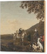 Ludolph De Jongh And Joris Van Der Hagen 1616 Rotterdam - Hillegersberg 1679 Or 1615 Hunting Party A Wood Print