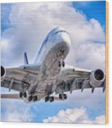 Lufthansa Airbus A380 In Hdr Wood Print