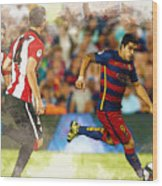 Luis Suarez Takes The Ball Past Athletic Bilbao's Eneko Boveda A Wood Print