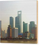 Lujiazui - Pudong Shanghai Wood Print by Christine Till