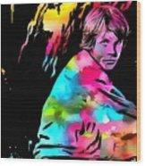 Luke Skywalker Paint Splatter Wood Print