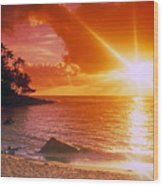 Lumahai Beach Sunset Wood Print