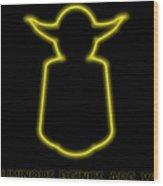 Luminous Yoda Wood Print