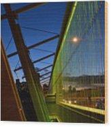 Luminous Green Bridge Wood Print
