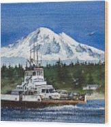 Lummi Island Ferry And Mt Baker Wood Print