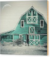 Luna Barn Teal Wood Print