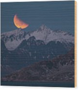 Lunar Eclipse In Lofoten Wood Print