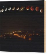 Lunar Eclipse - Red Moon- Step By Step Wood Print