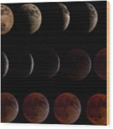Lunar Eclipse Sequence Wood Print