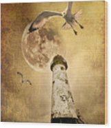 Lunar Flight Wood Print by Meirion Matthias