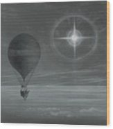 Lunar Halo And Luminescent Cross Observed During The Balloon Zenith's Long Distance Flight Wood Print