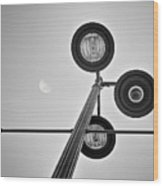 Lunar Lamp In Black And White Wood Print