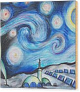 Lunar Starry Night Wood Print