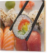 Lunch With  Sushi  Wood Print