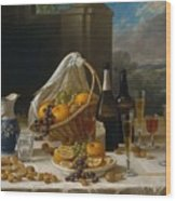 Luncheon Still Life, At And By John F. Francis Wood Print
