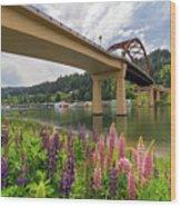 Lupine In Bloom By Sauvie Island Bridge Wood Print