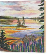 Lupine Sunrise Wood Print