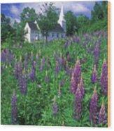 Lupines And Church Sugar Hill Wood Print