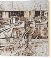 Lupines At Murray B_w Wood Print