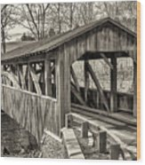 Luther Mills Bridge In Monochrome Wood Print