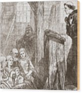 Luther Preaching In The Old Wooden Church At Wittemberg Wood Print