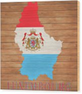 Luxembourg Rustic Map On Wood Wood Print