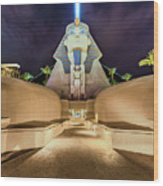 Luxor Casino Egyptian Sphinx Las Vegas Night Wood Print