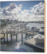 Luxury Boats Moored At Naples Island, Long Beach, Ca Wood Print