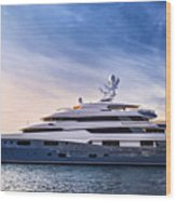 Luxury Yacht Wood Print by Elena Elisseeva