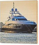 Luxury Yacht On Golen Sunset Wood Print