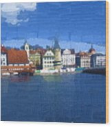 Luzern Lake Front Wood Print