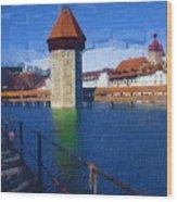 Luzern Tower Wood Print
