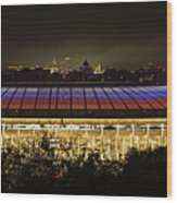 Luzhniki Stadium At Summer Night Against The Background Of The Ministry Of Foreign Affairs, The Cath Wood Print