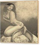 Lydia The Tattooed Mermaid In Sepia Wood Print