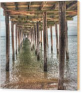 Lynnhaven Fishing Pier, Pillars To The Sea Wood Print
