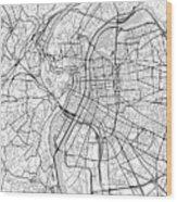 Lyon France Light Map Wood Print