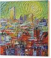 Lyon Sunrise Glow - Modern Impressionist Stylized Cityscape Wood Print