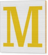 M In Mustard Typewriter Style Wood Print